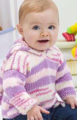 Adorable baby hoodie from Red Heart. Get the knitting pattern.