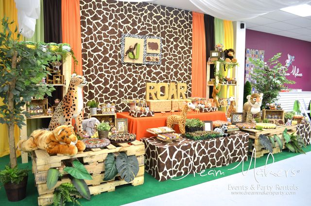 Jungle 1st Birthday Boy Party | CatchMyParty.com
