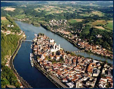 Passau,Germany, City of three rivers: Inn, Ilz, Danube