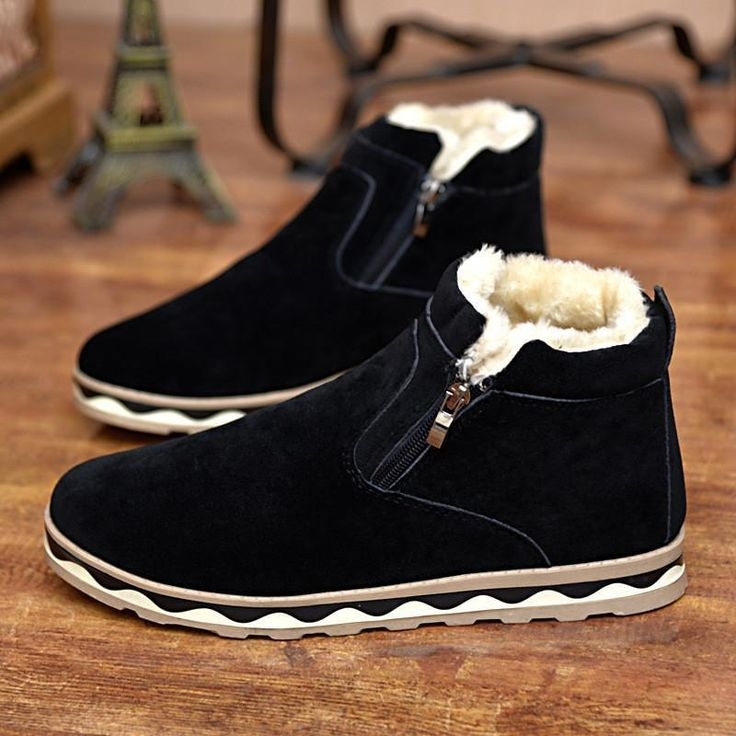 Super Warm Men's Suede Leather Ankle Boots Men Waterproof Snow Boots Leisure Martin Boots Shoes Mensblack Ba