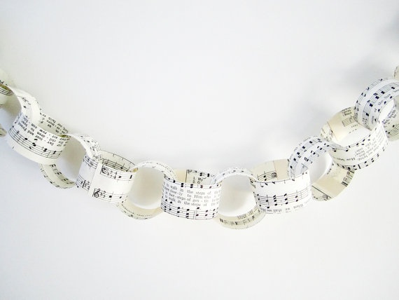 Vintage Music Sheet Chain Garland by JaneeLookerse on Etsy, $10.00