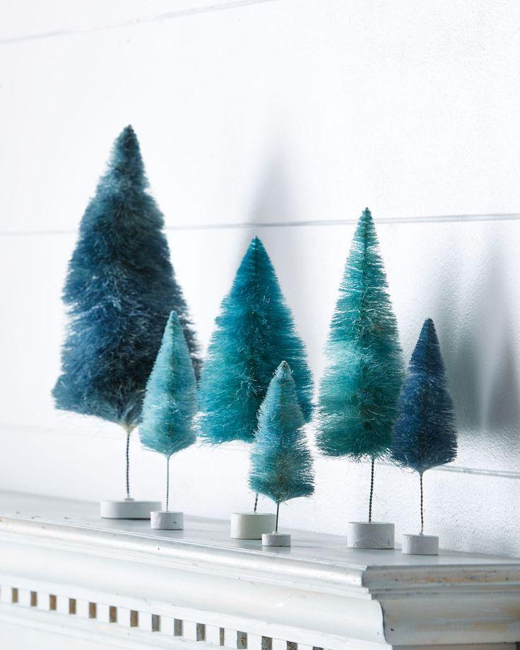 Blue Rainbow Miniature Trees Set