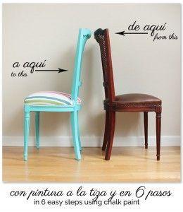 17 mejores ideas sobre sillas de pintura de tiza en - Como pintar un mueble antiguo ...