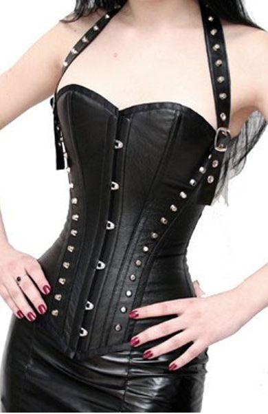 Studded Gothic Black Halter Top Bustier Corset Detachable Straps - Bustiers & Corsets | RebelsMarket