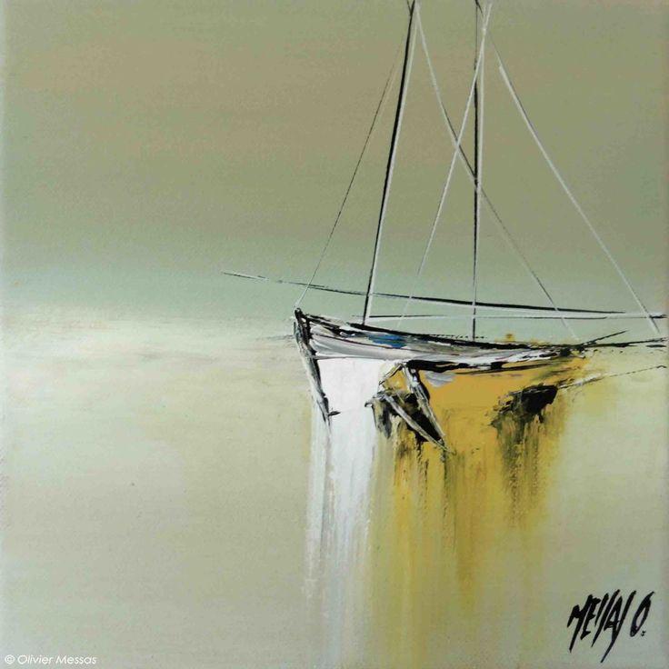 En tête à tête - Painting,  20x2x20 cm ©2015 by Olivier Messas -                                                            Contemporary painting, Canvas, Sailboat, segler, bateau, voile, sailing, boat, mer