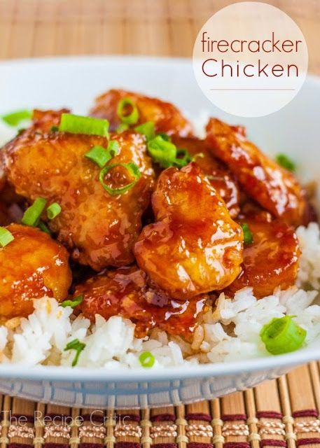 top Taste Pin- Firecracker Chicken Recipe  ¼ cup canola oil 4 boneless skinless chicken breasts Salt pepper 1 cup cornstarch 2 large eggs, beaten Sauce: ⅓ cup buffalo sauce (if you like more heat use hot sauce, like Frank's brand) 1¼ cup packed light brown sugar 1 tablespoon water 2 teaspoons apple cider vinegar ½ teaspoon salt ¼ teaspoon red pepper flakes