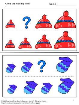 Sorting, comparing sizes and identifying patterns help preschool students develop strong math skill. With this Sorting By Size-Winter Clothing Worksheet set students can practice all of these skills.