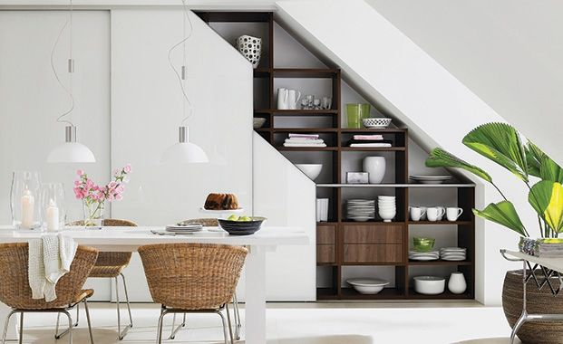Introduce an entire wall of storage - under the stairs, storage ideas, ideas for alcoves