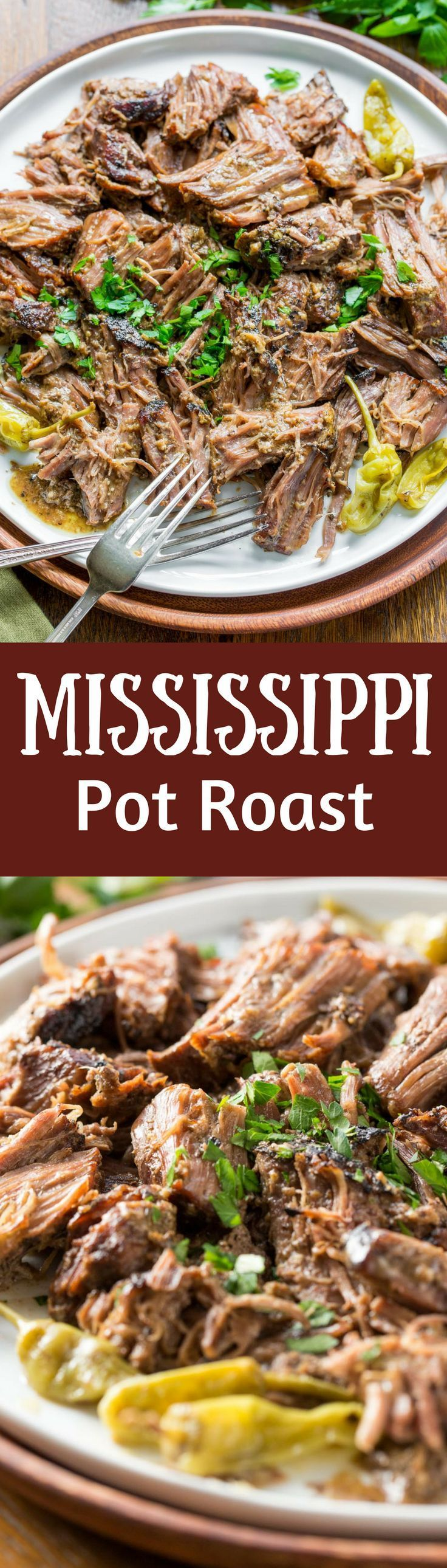 Mississippi Pot Roast - a tender, well flavored slow cooker pot roast with pepperoncini peppers and a simple homemade ranch dressing. Briny little pepperoncini peppers add a spicy punch of flavor, and it couldn't be easier to make! http://www.savingdessert.com