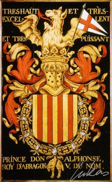 """(42) Alphonse V le Magnanime, roi d'ARAGON et de Naples -- """"Treshaut et trèsexcellent et tres puissant prince don Alphonse, roÿ d'Arragon, V. du nom"""" -- Armorial plate from the Order of the Golden Fleece, painted by Pierre Coustain, 1445, Saint Bavo Cathedral, Gent"""