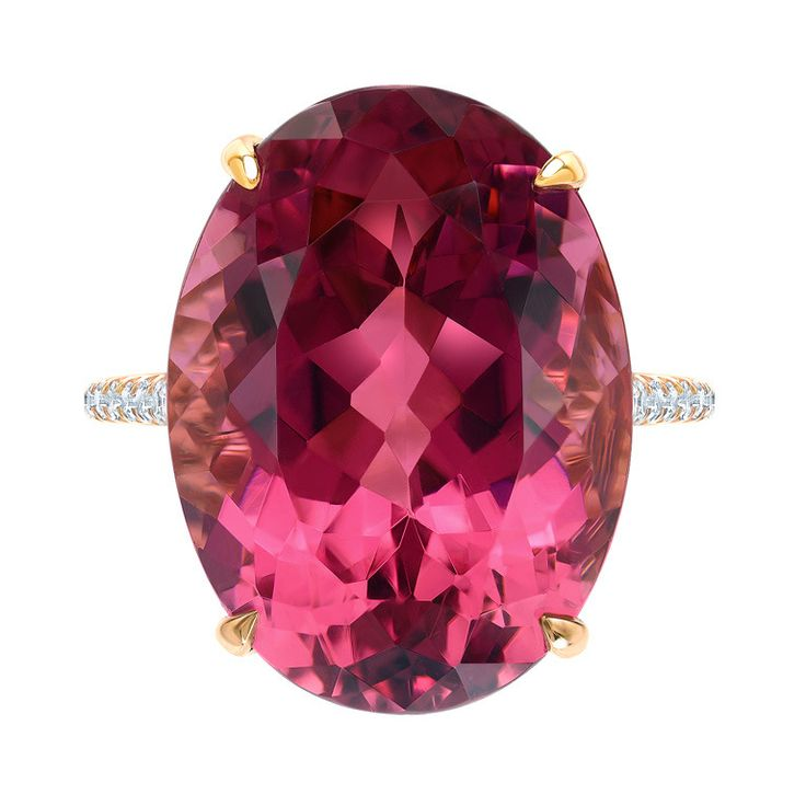 Marvelous Raspberry Tourmaline and Diamond Ring.   From a unique collection of vintage cocktail rings at http://www.1stdibs.com/jewelry/rings/cocktail-rings/
