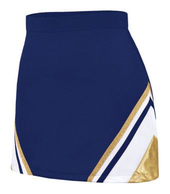 """""""Cheer uniform"""" by ingrid-carin ❤ liked on Polyvore featuring skirts, cheer, cheerleader, bottoms, sport, chassè, metallic skirt, blue skirt, sport skirts and sports skirts"""