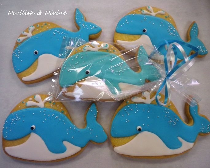 Cute Whale cookies for Beach-themed shower