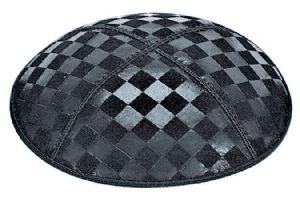 Checkerboard Embossed Kippah. This design is also available in Foil Embossing .