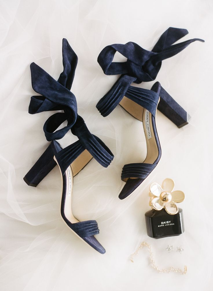 Navy ankle wrap chunky heel Jimmy Choo's: Photography : Rebecca Yale Photography Read More on SMP: http://www.stylemepretty.com/2016/11/16/blue-black-gold-brooklyn-wedding-501-union/