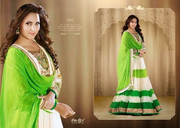 OFM-OMLARA-601 Ethnic Liril Green and Off-White Anarkali with Raw Silk Yoke, Georgette & Net Kameez with santoon Bottom & inner Heavy Thread,Jari & Stone Work makes it more beautiful. Chiffon dupatta included.