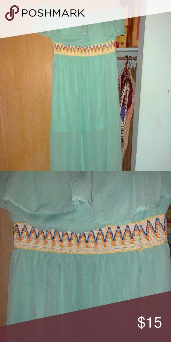 Turquoise maxi dress Turquoise maxi dress with rainbow waste band. L8ter Dresses Maxi