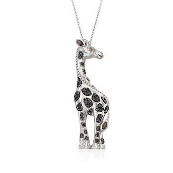 Black Spinel and Smoky Quartz Giraffe Pendant Necklace in Sterling Silver. So chic, this exotic black spinel and .10 ct. t.w. smoky quartz giraffe pendant necklace is spangled with glittering spots. Sterling silver pendant necklace. >>Click on the Giraffe Necklace to see more animal jewelry styles from Ross-Simons.