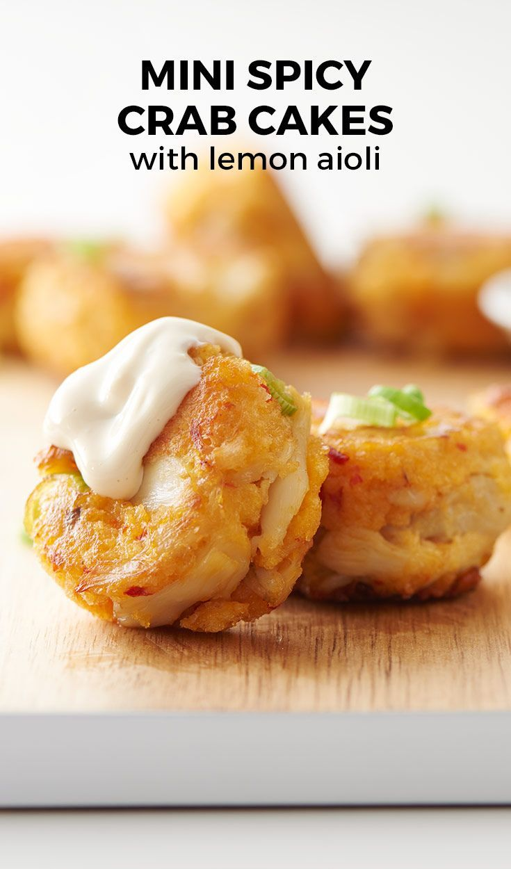 Mini Spicy Crab Cakes with Lemon Aioli. These cute crab cakes' small shape makes them easy to turn in the pan – but it also makes them easy to eat at a party! Super poppable appetizer that will be gone before you know it. Who doesn't love a good crowd-pleasing appetizer??