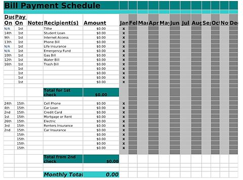 Bill payment schedule worksheet