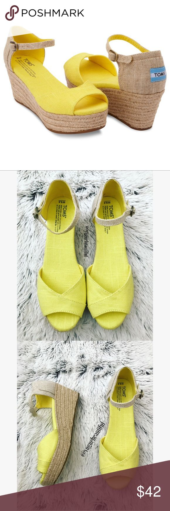 TOMS Yellow Wedges Yellow TOMS wedges with ankle strap • very good condition with very little to no wear • size 8.5 W • wedge height is 3 inches • color may vary slightly from photos • 🚨NO TRADES🚨 TOMS Shoes Wedges