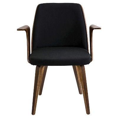 Verdana Mid Century Modern - Walnut Wood Chairs/Black PU - LumiSource