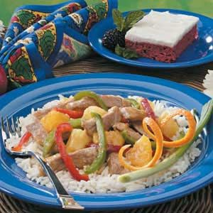 "Orange Pork Stir-Fry Recipe -""My family really enjoys this colorful stovetop supper that's lower in sodium than typical stir-fries,"" writes Wilma Jones of Mobile, Alabama. ""We have it often on weekends instead of going out for Chinese food."""