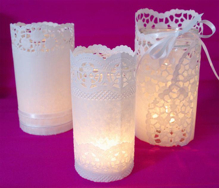 Hochzeits-Special Windlichter Kerzen Deko Glas Spitze DIY Anleitung leuchtend