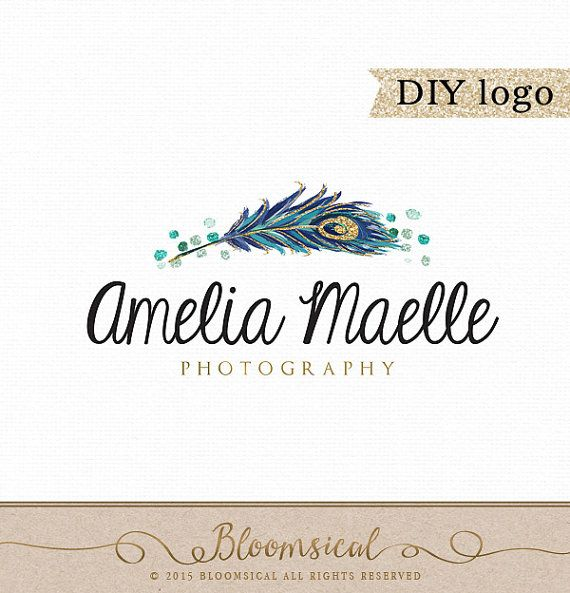 A modern logo featuring a chic hand painted peacock feather with gold glitter and emerald confetti sparkles.  This modern feminine logo is perfect for