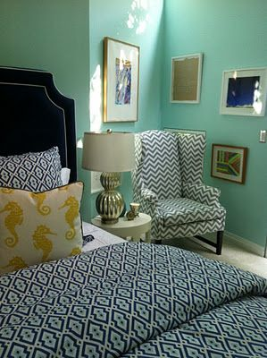 great chevron chair and patterned bedspread - guestroom