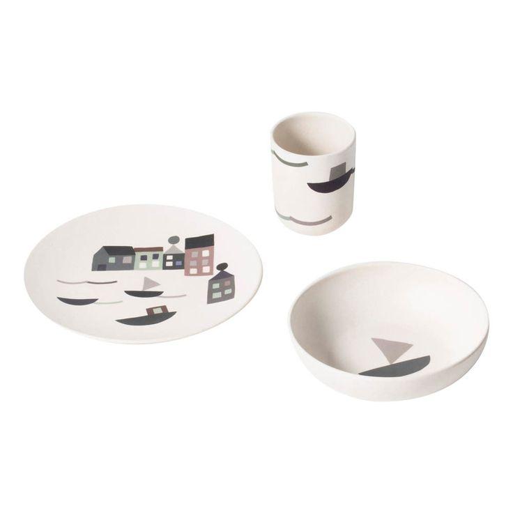 Geschirr-Set aus Bambus Ferm Living Baby- Große Auswahl an Design auf Smallable, dem Family Concept Store – Über 600Marken.