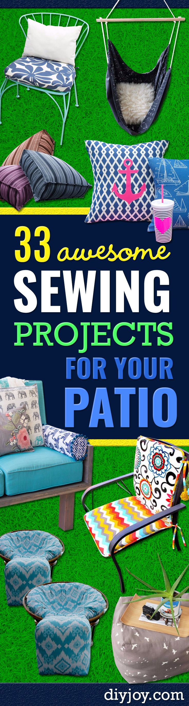 Sewing Projects for The Patio - Step by Step   Instructions and Free Patterns for Cushions, Pillows, Seating, Sofa   and Outdoor Patio Decor - Easy Sewing Tutorials for Beginners -   Creative and Cheap Outdoor Ideas for Those Who Love to Sew - DIY   Proje