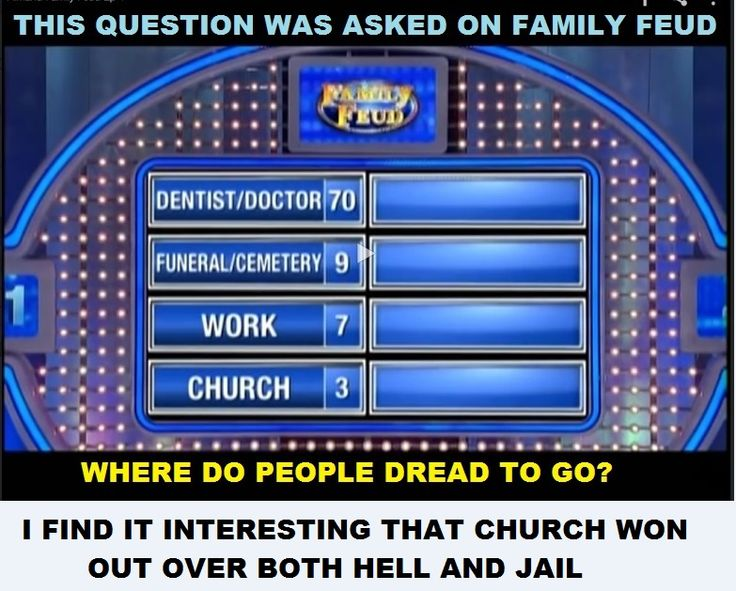 """Family Feud asked for the top 4 answers to the question, """"Where do people dread to go to?"""""""