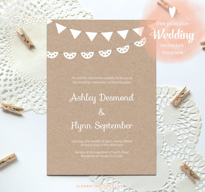 Free Printable Wedding Invitation Template Kraft Paper Just Fill In And