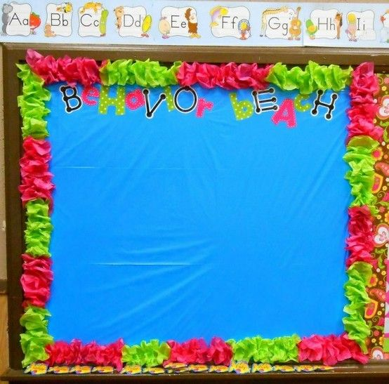 My behavior beach bulletin board...used scrunched up tissue paper as border and $store tablecloth for background...it will have my clip chart behavior management...