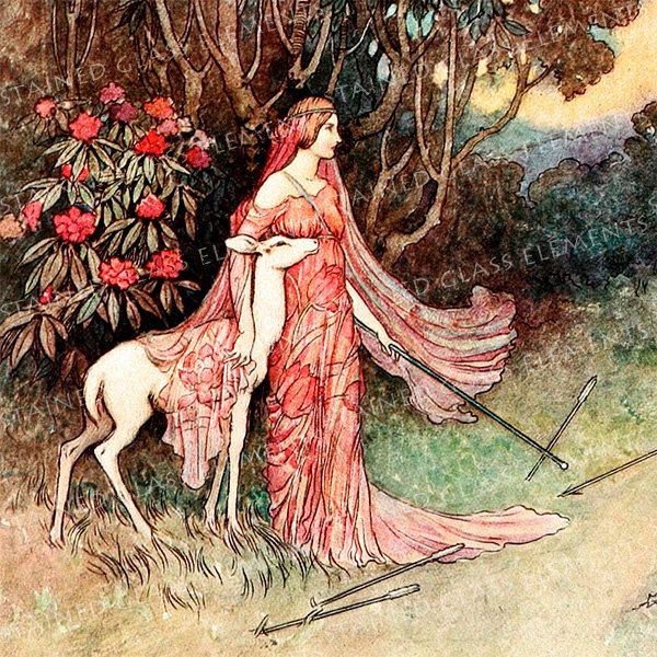 Warwick Goble ceramic decal, 10 x 10cm (3.94 x 3.94 inch), firing temperature 760-850 ºC (1400-1562 ºF), girl with deer, beautiful decals door StainedGlassElements op Etsy