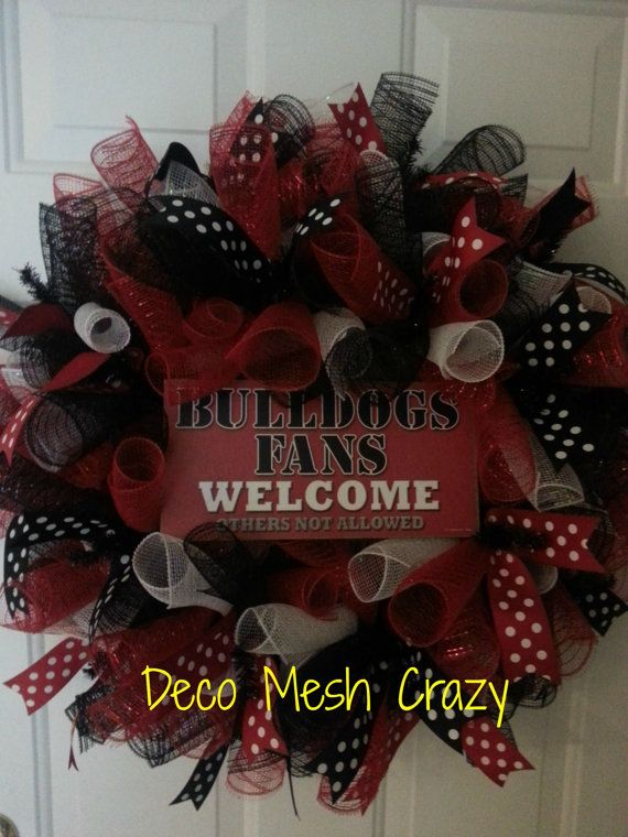 Georgia Bulldogs Curly Deco Mesh Sports Wreath by DecoMeshCrazy, $42.00