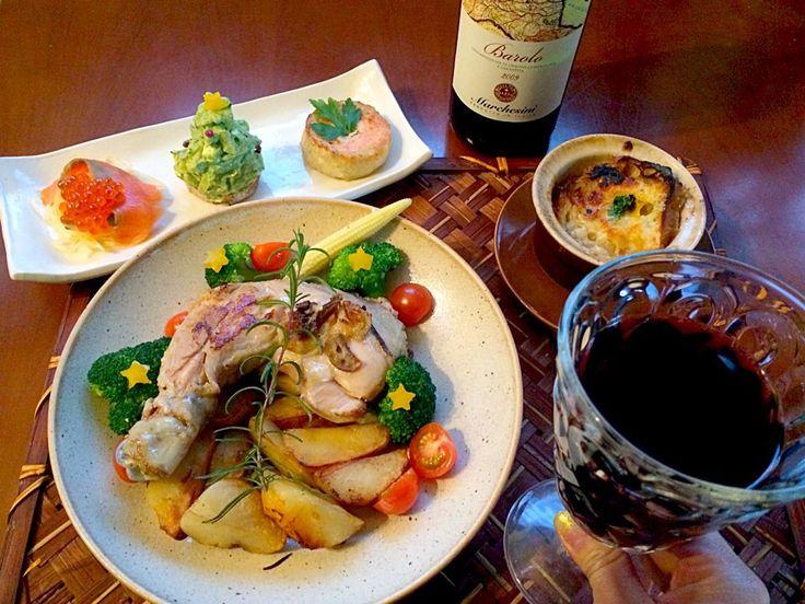 Christmas Dinnerオードブル,スーパ・ロワニョン,骨付き鶏肉とポテトのコンフィ