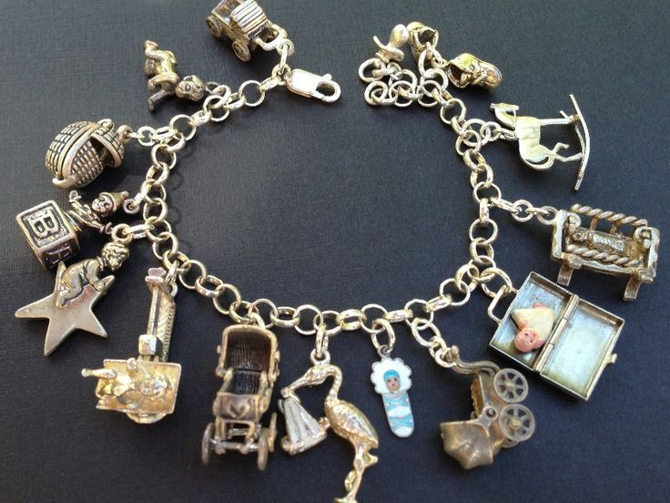 Vintage Charm Bracelet Collection - Baby Silver & Enamel Charm Bracelet: