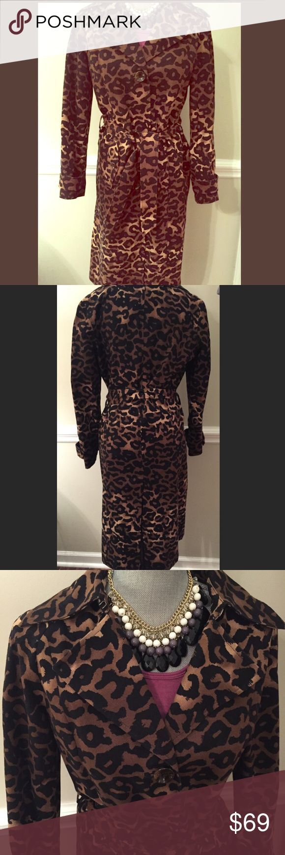 Alfani Leopard Animal Print Belted Trench Coat Alfani belted trench coat in a cool animal/leopard print.  Knee length and button front.  Slit in the back.  Button cuffs on sleeves.  Like new!  From Macy's.    Made of 100% cotton. Alfani Jackets & Coats Trench Coats