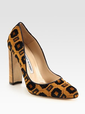 Manolo Blahnik Tapestry and Leather Pumps