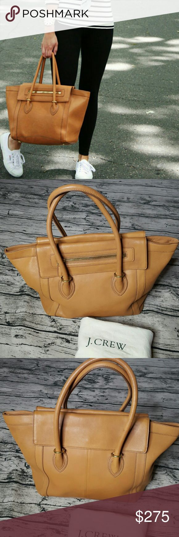 HTF J Crew Tillary Leather Tote bag Used but still lots of life left.  Comes with dust bag. No trades. Offers only thru offer button. My favorite bag, hard to let go but need to downsize my collection. J. Crew Bags Totes