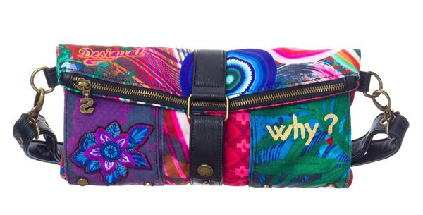 Desigual Diverdelik Clutch Bag  This is a verstile bag from Desigual. It can be used as a clutch or worn accross the body with the supplied adjustable strap. The zippered closure opens up to reveal an internal zippered pocket and two further open pockets for phones and so on. There are also two external pockets. The bag is fastened with a contrasting fold-over buckle and secured with a popper.  Dimensions: 18x30cms (approx)