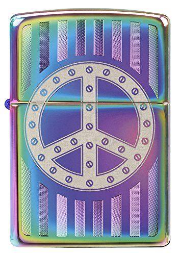 Zippo Rivet Peace Sign Pocket Lighter, Spectrum – Zippo