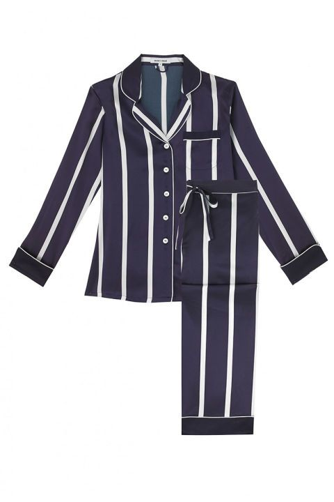 Shop this summer's chicest pajamas: Olivia von Halle navy and white striped pajamas