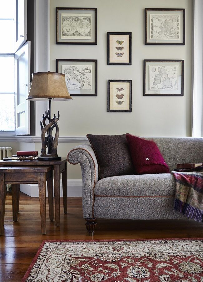 traditional living rooms large harris tweed sofa | tartans ...