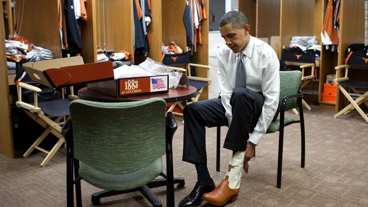 #44thPresident #BarackObama Trying on a pair of #cowboy #boots at the University of #Texas in #Austin August 9, 2010 Photo by Pete Souza/White House The President discussed higher education and the need to become more globally competitive. U.S. President Barack Obama greets students after delivering remarks at the University of Texas in Austin, Texas, August 9, 2010.