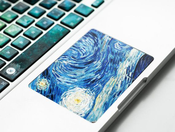 Laptop decal stickers Starry Night Van Gogh Inspired macbook decal decals macbook pro decal laptop decal trackpad touchpad # Van Dreams 2