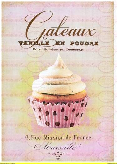 Vintage Shabby Chic french Paris Cupcake