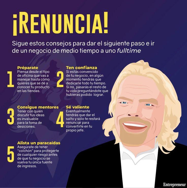 Renuncia y emprende  #entrepreneur #inspiration #infographic #motivation #work #emprendedores #money #ideasemprender #ideas Richard Branson, Entrepreneur, Memes, Business, Blog, Instagram, Business Tips, Meme, Blogging